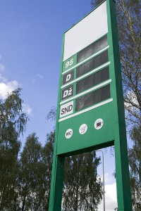 Gasoline price sign cleaned of logos and prices