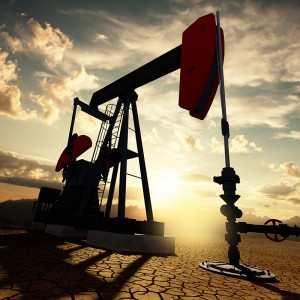 Very high resolution 3d rendering of an oil pump on the sunset sky